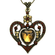 Brown Topaz Heart Rhinestone Crystals CZ Stone Designer Necklace Chain Pendant
