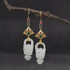 I05 Earring Silver 925 Gold Plated Antique Style White Jade And Colorful Crystal