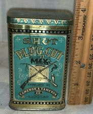 ANTIQUE SHOT PLUG CUT MIX TIN LITHO POCKET TOBACCO CAN CAMERON CO GUN MUSKET OLD