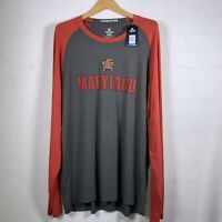 UMD Mens Colosseum Maryland Terrapins 2XL XXL Long Sleeve T Shirt TERPS NWT