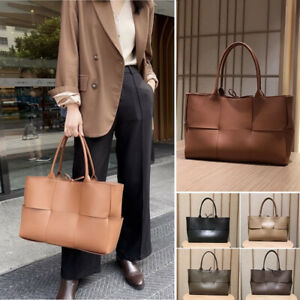 Real Leather Maxi Woven Tote Arco Shaped Shoulder Bag Purse Shopper Top Handles