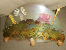 1991 MORDILLO PUZZLE THICK WOODEN WALL CLOTHE RACK HANGER=POP UP ANIMAL FIGURES