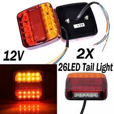 2X 12V 26 LED Tail lights Stop Brake Lamps Waterproof Boat Trailer Truck Light