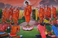 """perfact 36x24 oil painting handpainted on canvas""""Buddhist figures """" NO591"""