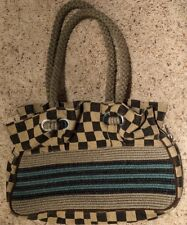 Hand Made LL lily Canvas Woven Checkered Striped Purse Braided Straps Jetset