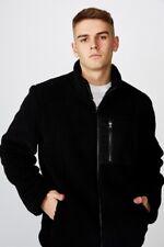 Factorie Mens Sherpa Zip Through Jacket Fleece Tops  In  Black
