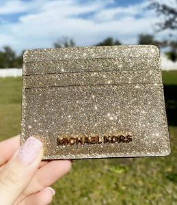 Michael Kors Giftables Jet Set Travel Large Card Holder Pale Gold Glitter