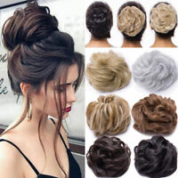 Real Natural Curly Messy Bun Hair Piece Scrunchie Hair Extensions as Human SD