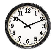 Clásico 30cm Negro De Calidad Metálico Vidrio Lente Reloj de pared de cuarzo
