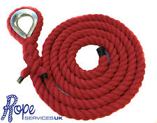 28mm Red Natural Cotton Gym Climbing Rope x 12 Metres With Galvanised Eye