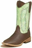 DBL BARREL WYATT Youth  Brown Lime Green Square Toe Western Boots #4476008 NIB