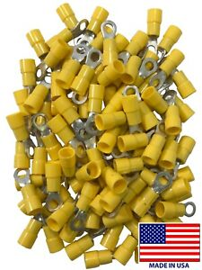 (500) Vinyl 12-10 Gauge #10 Stud Ring Terminal Yellow Insulated Wire Connector