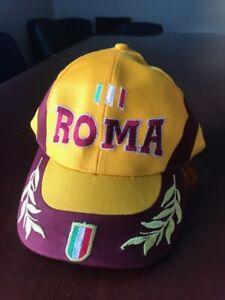 Rare Vintage Yellow/Maroon Roma Soccer Baseball Hat Cap Velcro Back