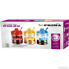 3PC Tea Coffee Sugar Kitchen Glass Jar Canister Storage Sweet Containers New