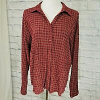 Woolrich XL Top Women's Plaid Red Button Crinkle Long Sleeved Cotton Blend #P3