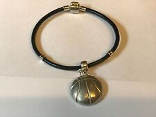 Basketball Tg204 Made From Fine English Pewter on a Faux Leather Snake Bracelet