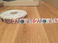 "1m Alphabet ABC Animals Kids Learning Nursery Baby Grosgrain Ribbon 7/8"" 22mm"