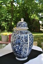 "14 1/2"" Hand painted Butterfly, Fruit and Floral Delft Urn/Ginger Jar 1960"