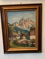 Ölbild Gemälde  Bild Berglandschaft in Keil-Holzrahmen 53 x 43 x 4 cm Signatur
