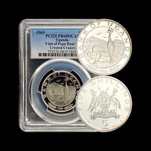 1969 Uganda 5 Shillings (Silver) - PCGS PR68 - Top Pop 🥇 Papal Visit Cranes RR
