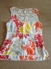 M & S Per Una Ladies Summer Crochet Red Orange Yellow White Floral Top 12 NWOT
