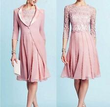 Light pink Chiffon Coat Mother Of Bride Lace Dress Suits with Jacket Custom Made