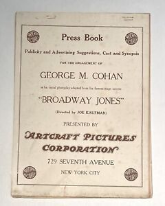 GEORGE M. COHAN - Rare 1917 BROADWAY JONES Comedy Movie ARTCRAFT FILM PRESSBOOK