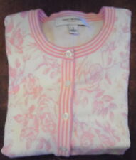 Isaac Mizrahi Floral Toile Cardigan Sweater Small Pink/White Cotton Blend