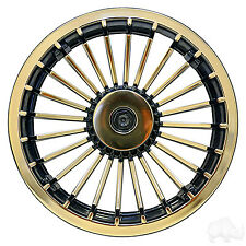 "Yamaha Ezgo Club Car Golf Cart Wheel Cover Hub Caps 8"" Black Gold Turbine Set 4"