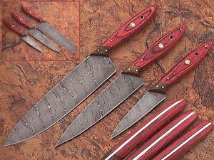 Custom Handmade Professional  Damascus Steel Chef Knives 3Pcs  Set DB-1046-RD