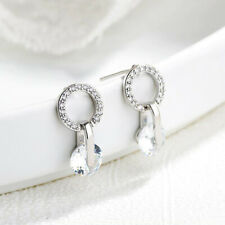 Round Diamante Shiny Rhinestone Crystal Stud Earrings Sparkly Bling Ear Studs C