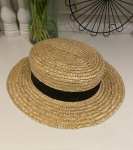 Vintage Straw Boater Hat Black Ribbon