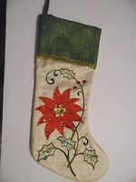 GREEN & WHITE BURLAP LOOK RED POINSETTIA CHRISTMAS STOCKING DECORATION