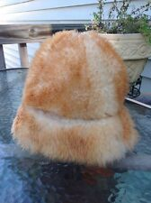 Womens Marche Fur Hat Dyed Tuscan Lamb Skin Made in Italy Tan Beige Fleece Wool
