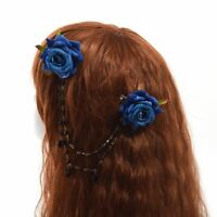 1pc Vintage Gothic Lolita Grils Red Blue Rose Floral Hair Clip With Beads Chain