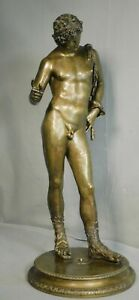 "Antique Grand Tour Bronze Nude Male 24"" Narcissus Dionysus Sculpture Statue Man"