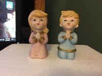 Vintage Homco -  Porcelain Praying - Boy & Girl Figurine #5211