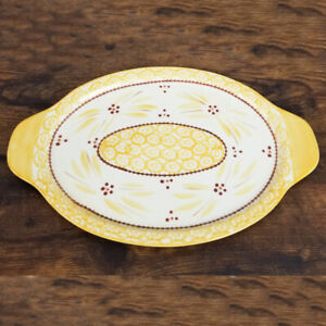 """Temptations By Tara Old World Yellow 13.5"""" Platter Oval Serving Tray w/ Handles"""