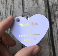 24x Gold Foil Wedding Favour Tags Heart Wedding Gift Tags Wedding Thank You Tags