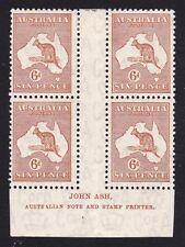 Australia 1932 Kangaroo 6d Chestnut CofA Wmk Ash Imprint Block of 4 Mh/Mnh