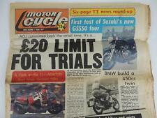 UK Motor Cycle Newspaper June 1977 Suzuki GS550 BMW TT MX Road Race L1172