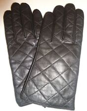 Ladies Quilted Genuine Leather Gloves,Black, Large