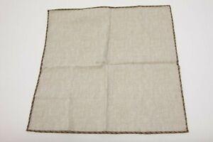 NWT Brunello Cucinelli Men's Stitched Border Detailed Silk-Cotton Pocket Sq A196