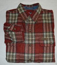 "VTG Chaps Ralph Lauren Plaid Flannel Lumberjack Shirt M 48"" Red Black Olive"