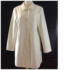 Womens DStudio Cream Ivory Lined Jacket Coat Button Down Size 14 NWOT