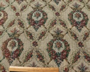 Antique Vintage c1920s French Floral, Fruit & Bows Tapestry Fabric Sample~25X33
