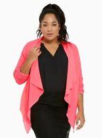 New Torrid HOT PINK Size 00 M L XL Crepe Drape Lightweight Open Jacket Blazer