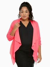 New Torrid HOT PINK Size 00 M L XL Crepe Drape Lightweight Open Jacket Blazer