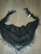 Jaylay Triangle Cotton Black Scarf Crochet Floral Detail Shawl Wedding Party