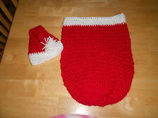 Crochet newborn Santa hat and cocoon, red and white, photo prop.